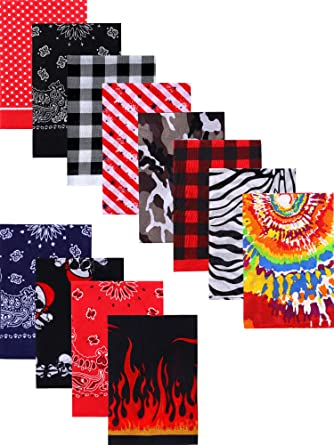 Dozen of Cotton Fine Novelty Print Unisex Tie Dye Bandanas Headwraps for Hippie