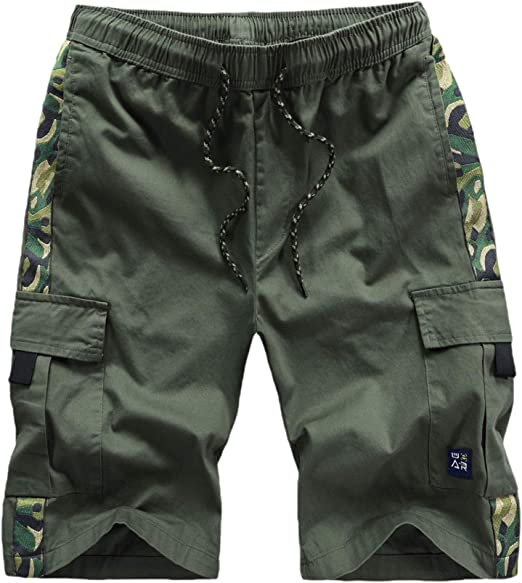 Candiyer Men Camouflage Basic Cotton Relaxed-Fit Multi Pockets Cargo Pant