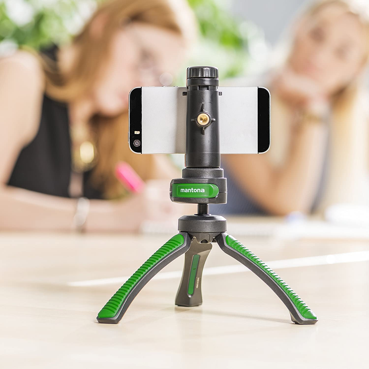 Mantona Kaleido Mini 3-Leg Table and Hand Tripod with Ball Head//–/1//4/Inch Connector, Spirit Level and Hands Chlafe Lime Green