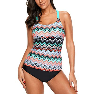Eternatastic Womens Wave Printed Tankini Top Crossed Back Bathing Suit Swimsuits Purple: Clothing