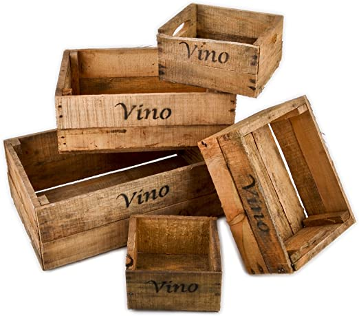 Caja de madera, 5 unidades, diseño para botellas de vino, diseño usado vintage, estilo campestre colonial: Amazon.es: Hogar