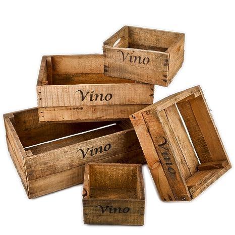 Caja de Madera, 5 Unidades, diseño para Botellas de Vino, diseño Usado Vintage
