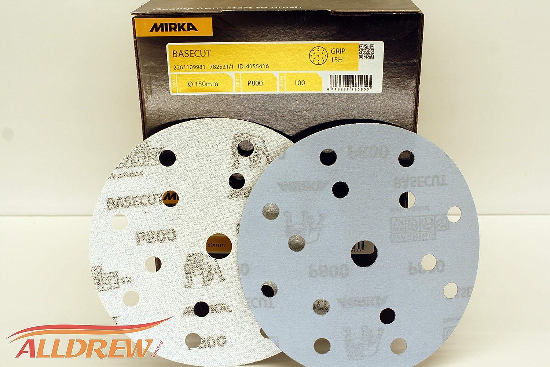 800 GRIT 150mm Mirka BaseCut Sanding Discs 6 Sandpaper Hook /& Loop 15 Hole Blue Automotive Pads //// 100 Discs