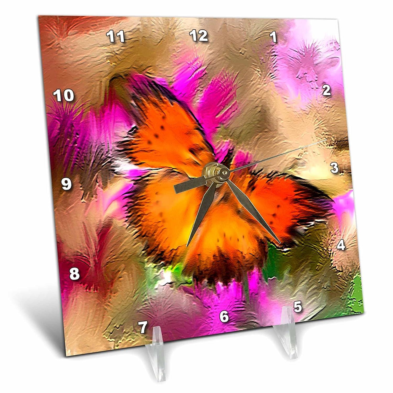 3dRose Dinzas Art Animals 6x6 Desk Clock dc/_3343/_1 Butterfly