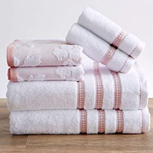 100% Cotton Floral Jacquard Bath Towels, Luxury 6 Piece Set - 2 Bath Towels, 2 Hand Towels and 2 Washcloths. Absorbent Super Plush Decorative Towels (6 Piece Set, White / Pink)