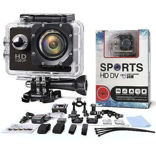 Multifonction Action Camera - SAVFY - Caméra sport / Caméra embarquée étanche 30M Full HD 1080P Enregistreur Vidéo Numérique DVR Camcorder, 12 Mega Pixel, 170 ° HD Grand-Angle, avec le Boîtier Etanche Supports Multiples + 21 ACCESSOIRES OFFERTS (inclus 2 batteries)!!! - Noir