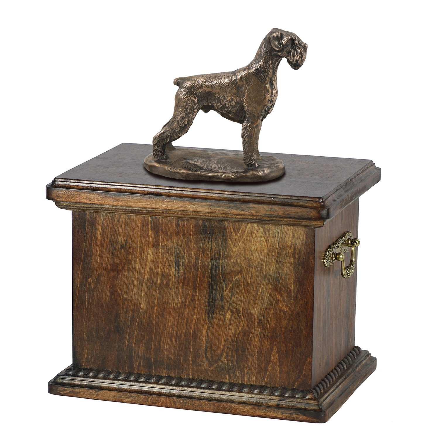 Schnauzer (uncropped), memorial, urn for dog's ashes, with dog statue, ArtDog