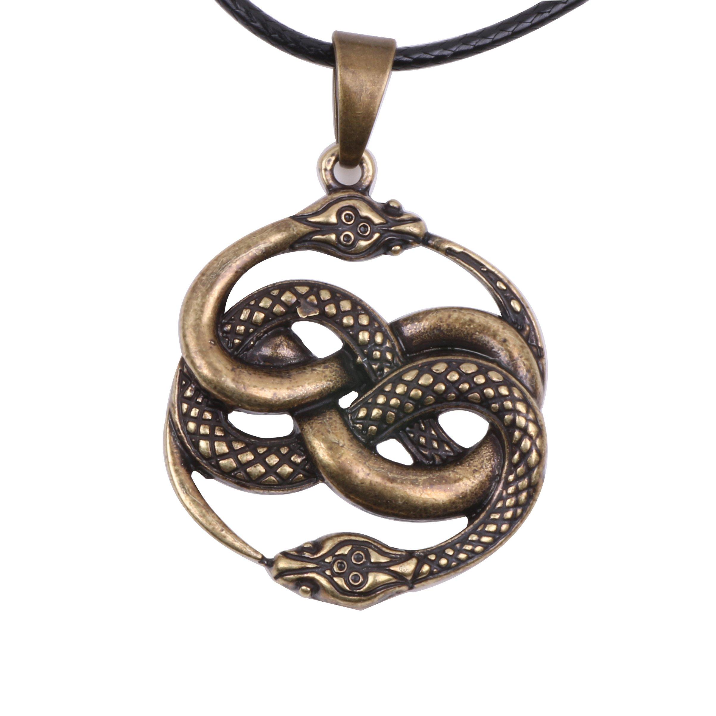 Paw Paw House Knotwork Ouroboros Amulet Necklace Norse Viking Snake Runes Nordic Talisman Pagan Wicca Spiritual Jewelry Men (4169 Bronze)