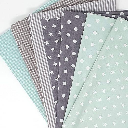 Sugarapple - Tela de algodón para Patchwork DIY (7 unidades, 50 x 70 cm, mezcla de tela de color menta y gris, certificado Öko Tex Standard 100): Amazon.es: Juguetes y juegos