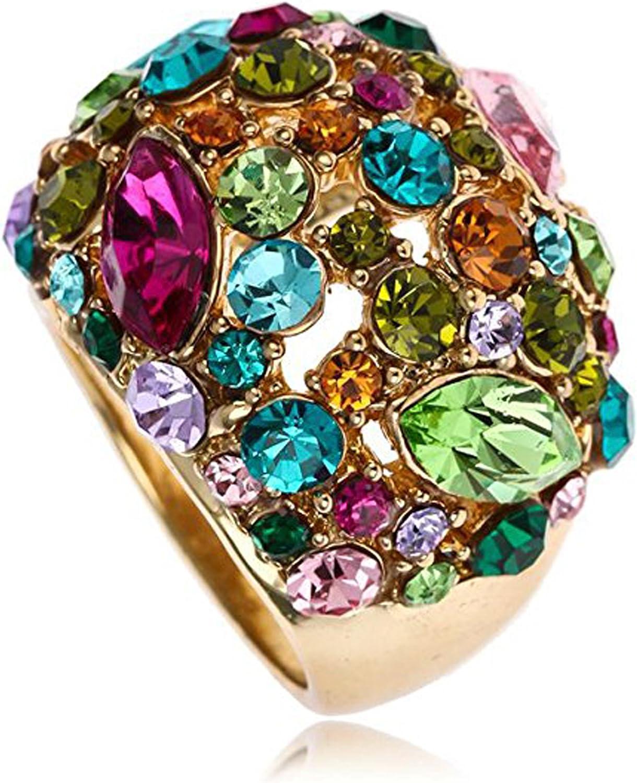 Claire Jin Multi Color Moda Declaración Anillo Mujer Joyería Gipsófila Diamantes de Imitacion