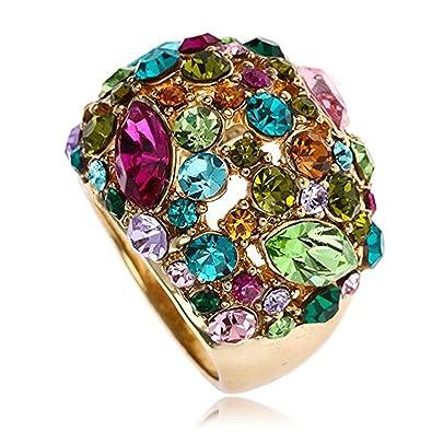 9f750879f670 Claire Jin Multi Color Moda Declaración Anillo mujer Joyería Gipsófila  Diamantes de Imitacion (11.5)