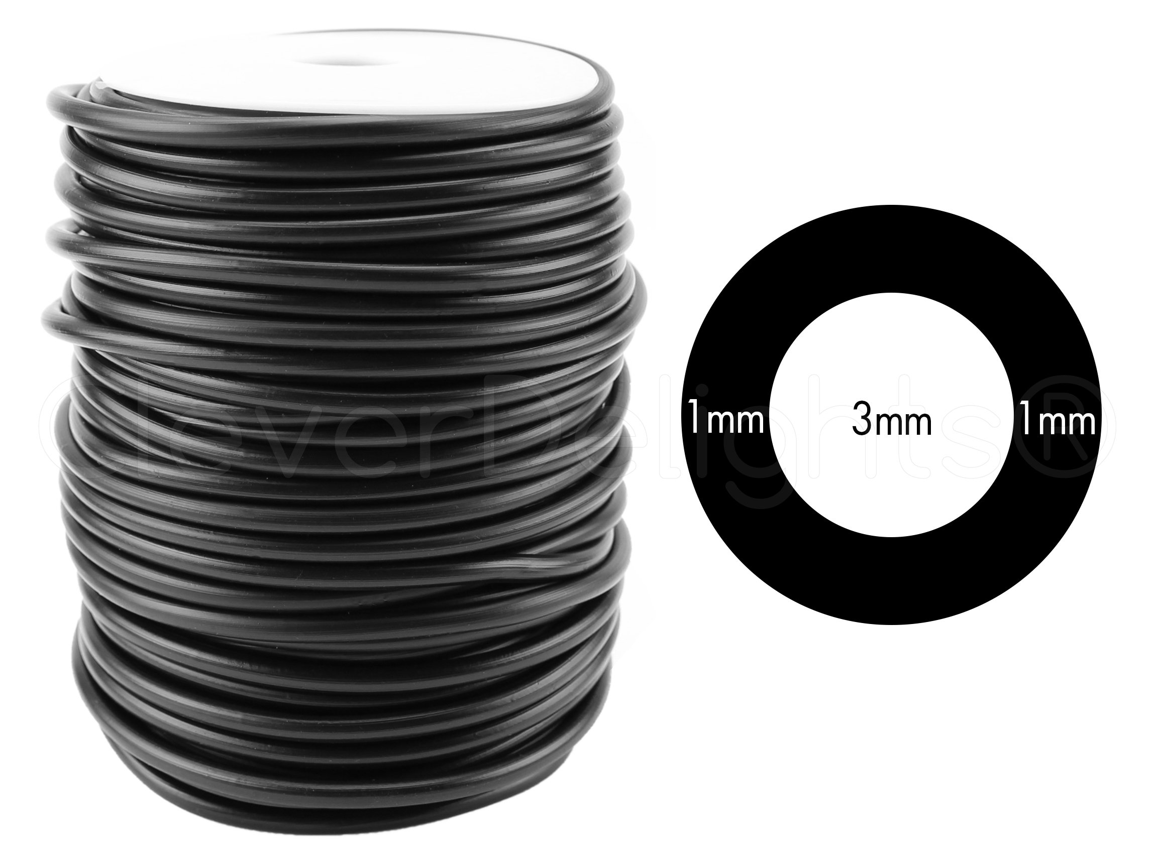CleverDelights Black Hollow Rubber Tubing - 150 Feet - 5mm Diameter Tube Cord - 3/16'' OD x 1/8'' ID by CleverDelights
