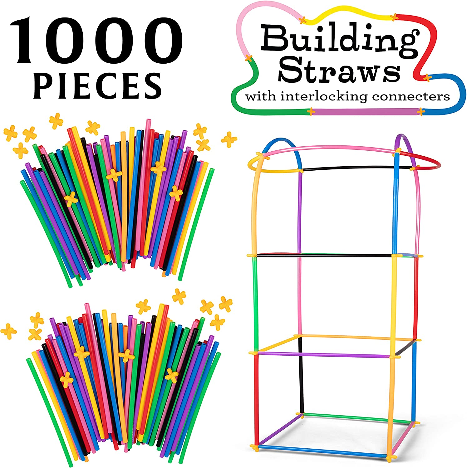 SCS Direct 1000pc Building Straws & Connectors Set for Kids - STEM Educational Construction Toy Includes Assorted Colors & Interlocking Connectors - Helps Develop Motor Skills & Learning - Age 3+