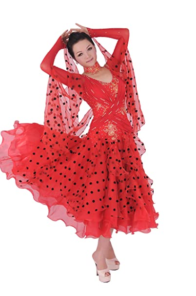 35c593b6453 Amazon.com  Colorfulworldstore Tailored Ladies Ballroom Modern Waltz Tango  Dance Dress-Over all dress-Red  Clothing