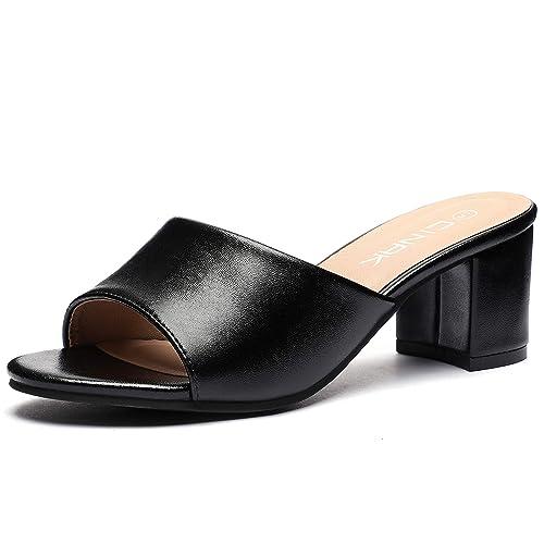 599beb99950c1 CINAK High Heeled Sandals Slippers Womens- Summer Slip-on Casual Slide  Mules Comfort Shoes