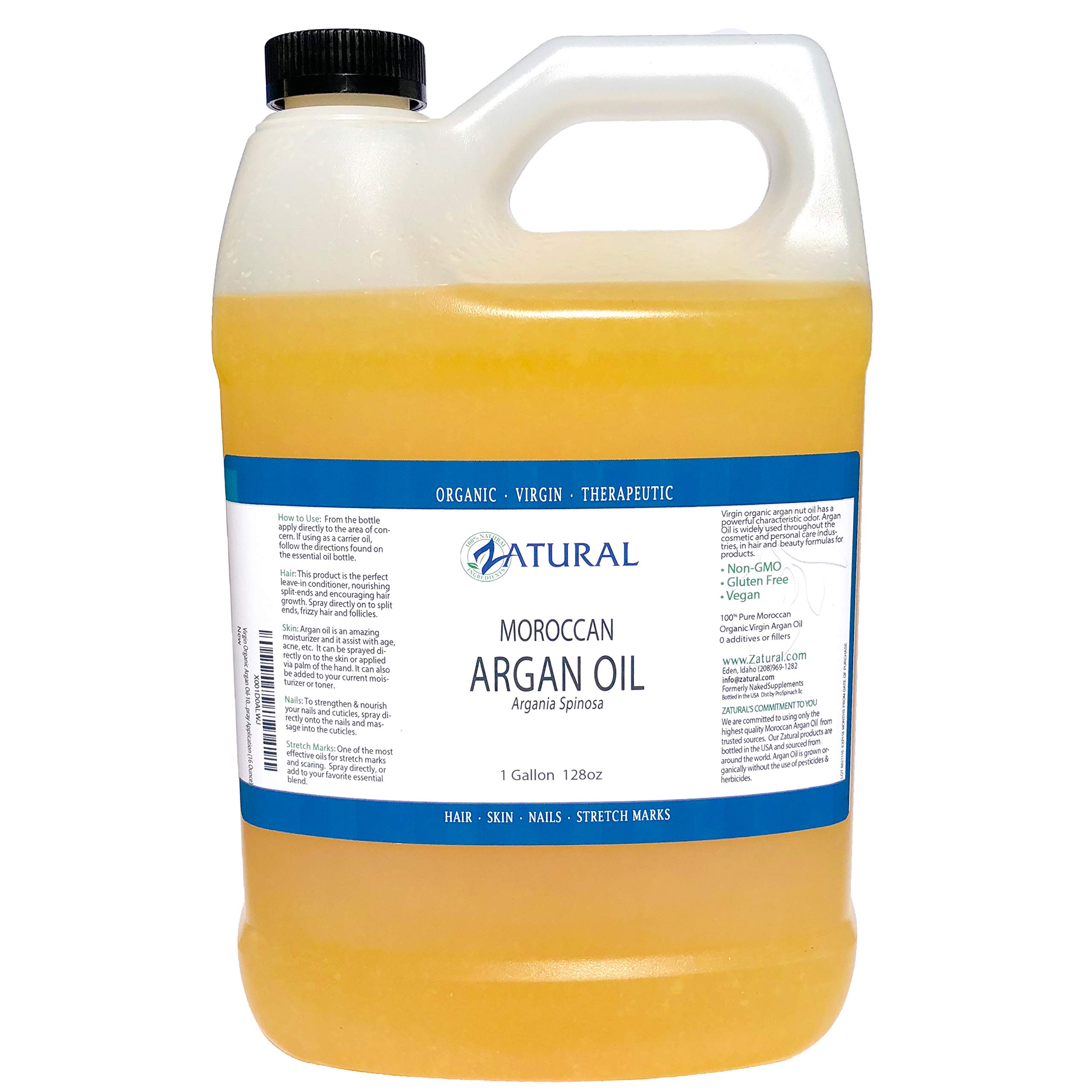 Virgin Organic Argan Oil-100% Pure Virgin Organic Argan Oil, Easy Spray Application (128 Ounce (1 Gallon))