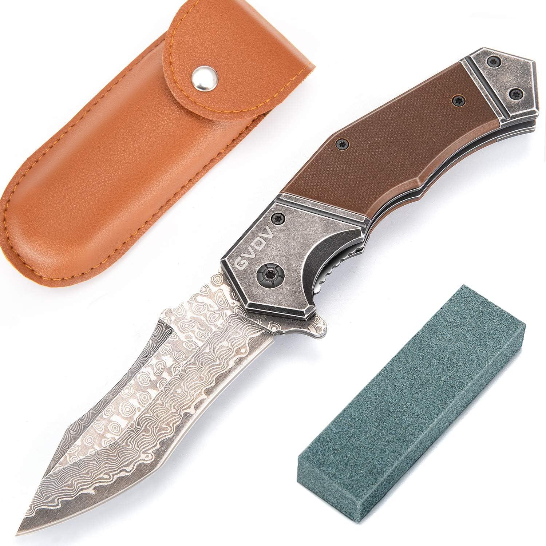 GVDV Damascus Spring Assisted Folding Pocket Knife for Camping