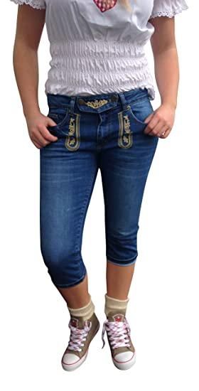 By Johanna Trachtenjeans Lederhosen Optik Blau Stickerei 5 Pocket Caprijeans Used Look Vegan