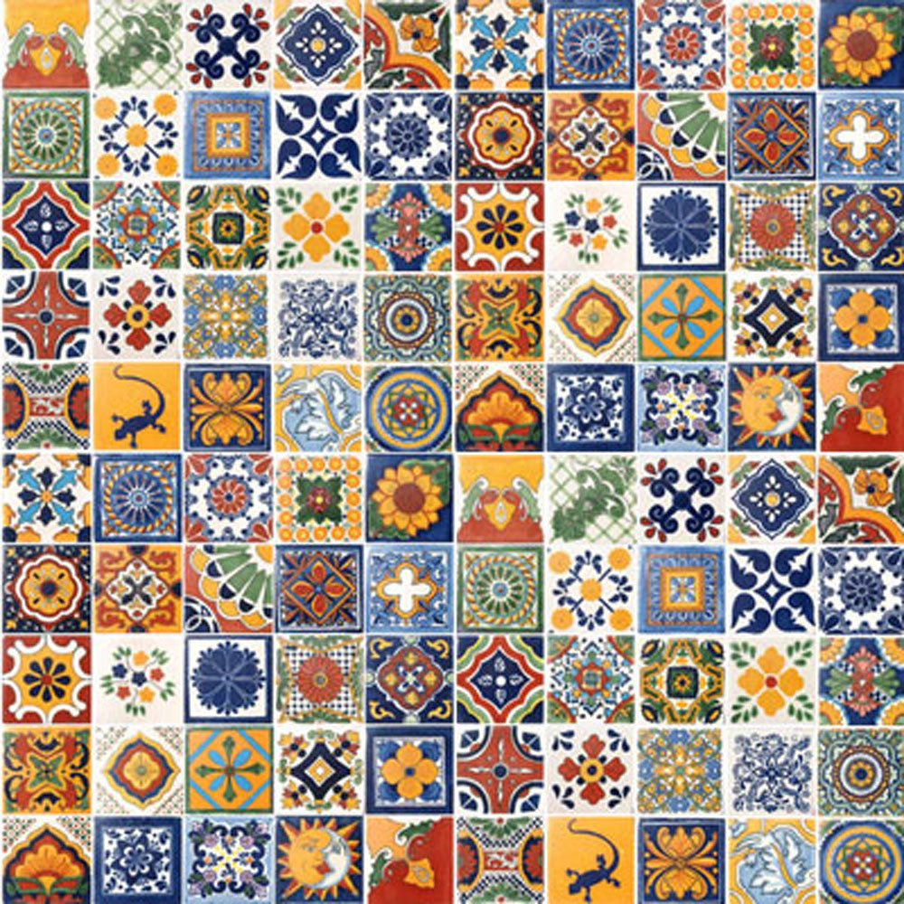 100 Hand Painted Talavera Mexican Tiles 4''x4'' Spanish Influence by Casa Daya Tile