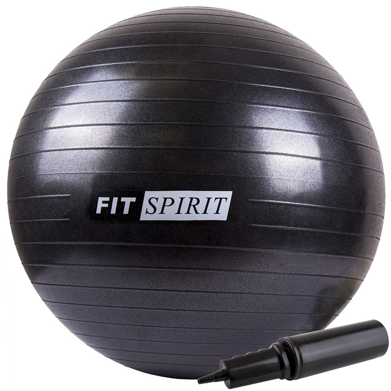 Fit Spirit Black Exercise Balance Fitness Yoga Ball with Pump - 65CM