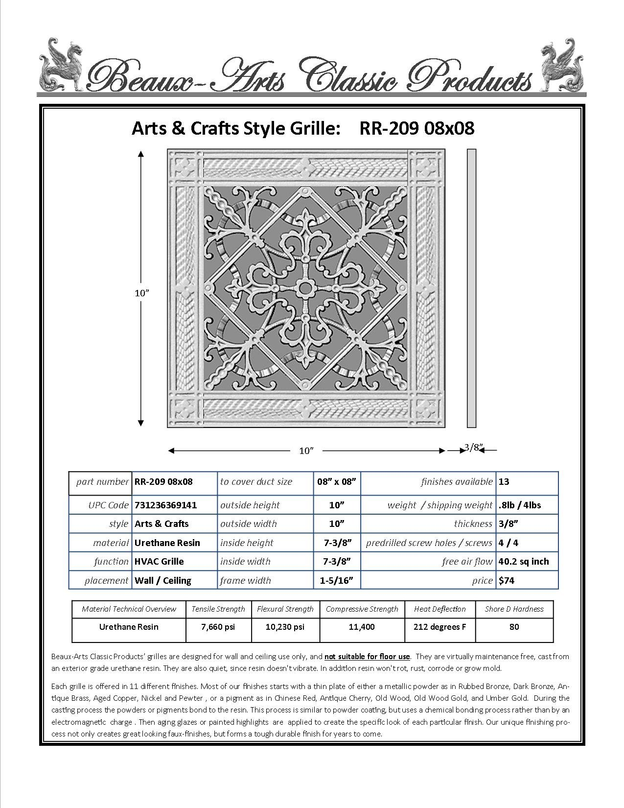 "Decorative Grille, Vent Cover, or Return Air Register. Made of Urethane Resin to fit over a 8''x8'' duct or opening. Total size of vent is 10""x10''x3/8'', for wall & ceiling grilles (not for floor use) by Beaux-Artes, Ltd. (Image #2)"