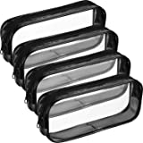 Tatuo 4 Pieces Clear PVC Zipper Pen Pencil Case, Big Capacity Pencil Bag Makeup Pouch (Black)