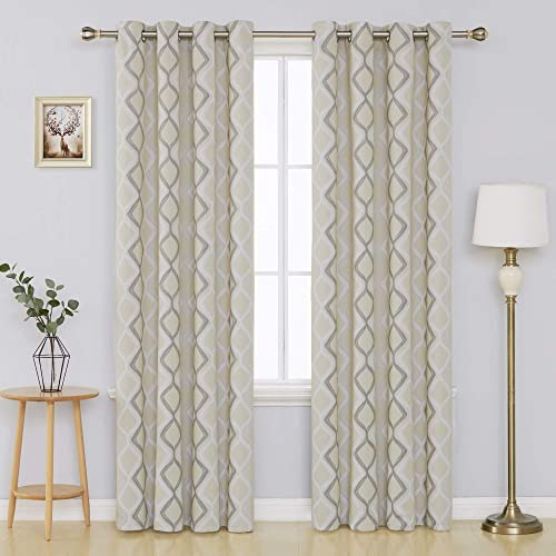 Deconovo Trellis Printed Blackout Curtain with Grommet Top Room Darkeing Curtains for Bedroom 52W x 84L Inch Beige White and Grey 2 Panels