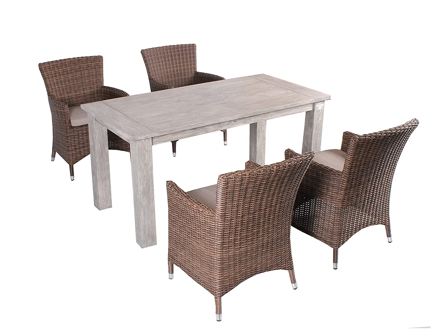 strandgut07 5tlg essgruppe sitzgruppe 160 x 80 cm teakholz grau finish hochwertiges polyrattan. Black Bedroom Furniture Sets. Home Design Ideas