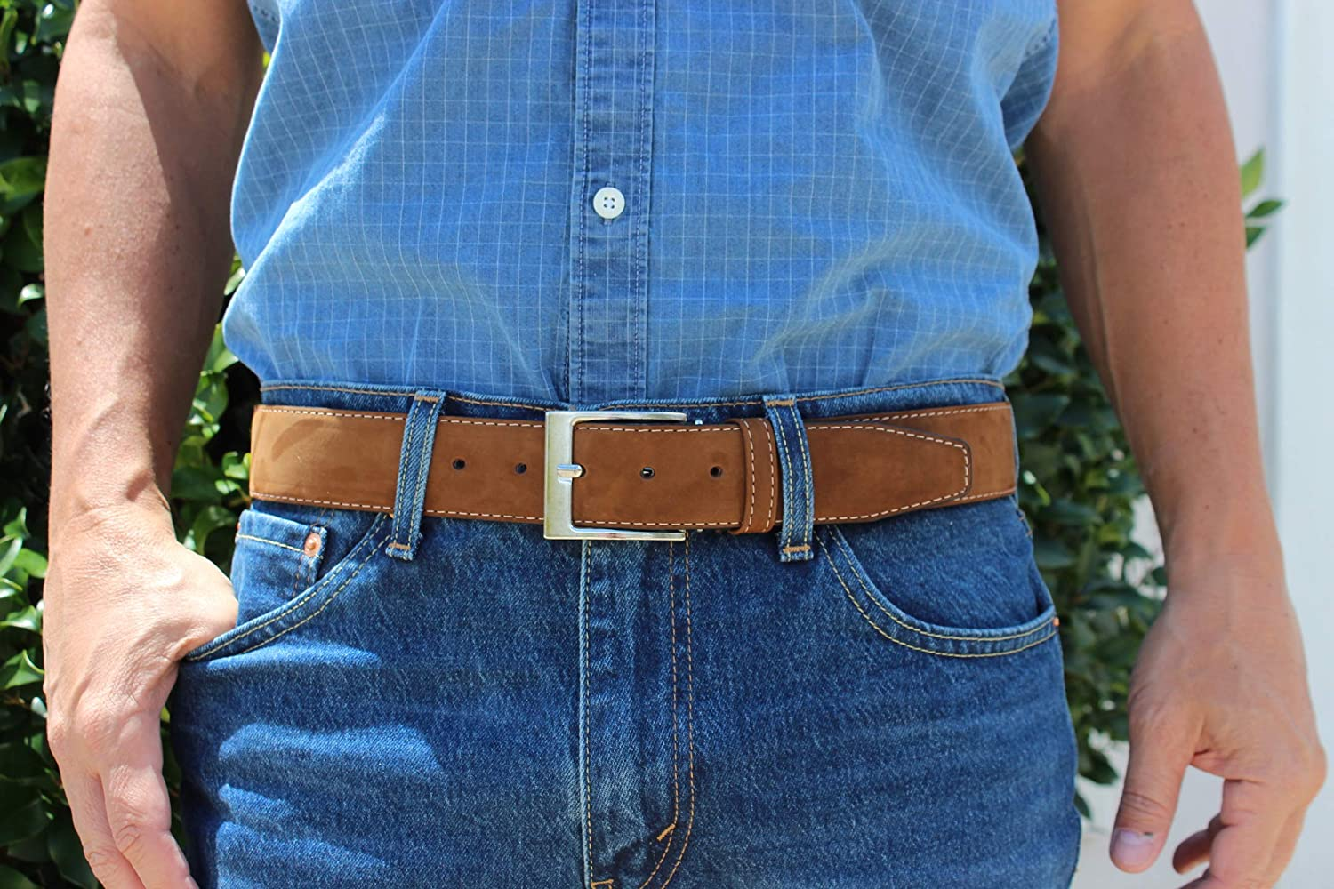 XeeBest Men Suede Genuine Leather Casual Stitched Belt with buckle