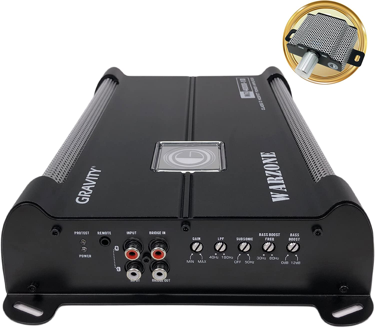 Car Amplifiers Gravity Audio WZ4000.1D Warzone 4000W Class D Amp 1//2//4 Ohm Stable with Remote Sub Control