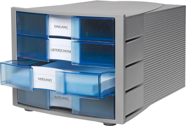 Han 1010-X IMPULS/ 4/cassetti chiusi Light Grey//Translucent Blue /Cassettiera formato DIN A4//C4