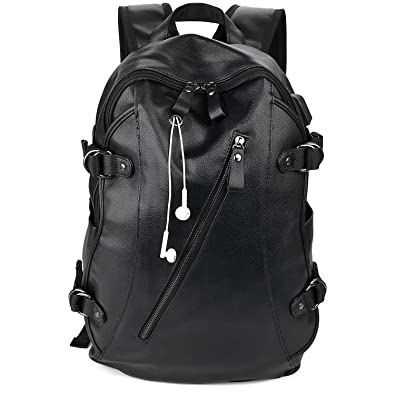 Bageek リュック メンズ 革 黒 大人 バックパック レザー 通勤 旅行 ビジネス 鞄 A4対応 14