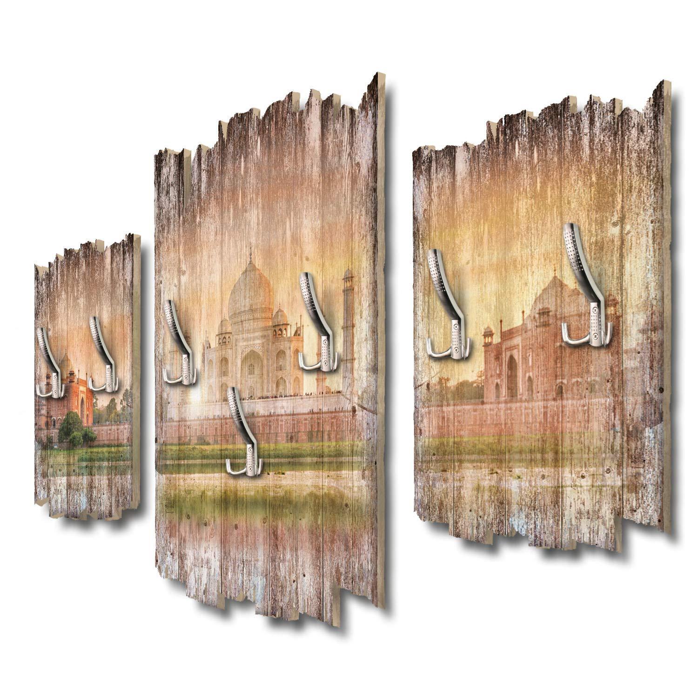 Kreative Feder Taj Mahal Designer Wandgarderobe Flurgarderobe Wandpaneele 95 x 60 cm aus MDF DTGH103