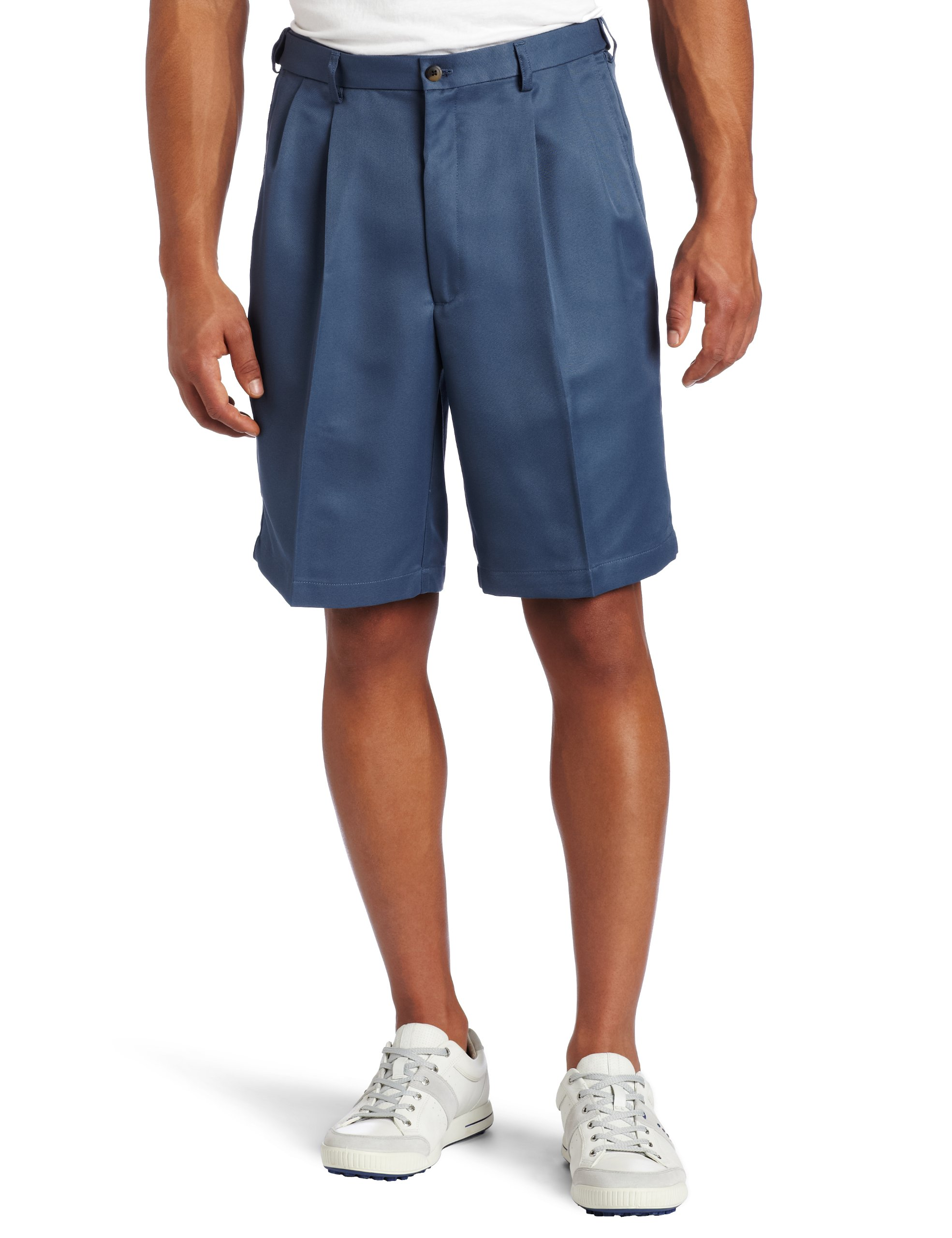 Haggar Men's Big-Tall Cool 18 Gabardine Hidden Expandable Waist Pleat Front Short,Cadet Blue,46