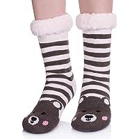 MIUBEAR Christmas Deer Slipper Socks for women girls - Super Soft Warm Cozy Fuzzy Fleece-lined Winter Socks