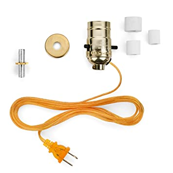 Bottle Lamp Wiring Kit With Brass Socket And 8 Feet Gold Cord, 3 Adapters To