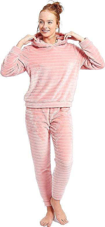 M /& S Soft Fleece Pyjamas Pink Animal Print Size 8//10