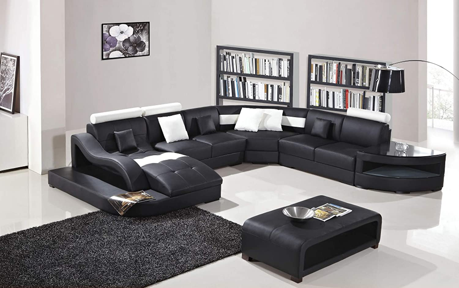 Oakland living t327 sec ct bk black white contemporary real leather furniture chaise lounge storage shelves coffee table modern sectional living room set
