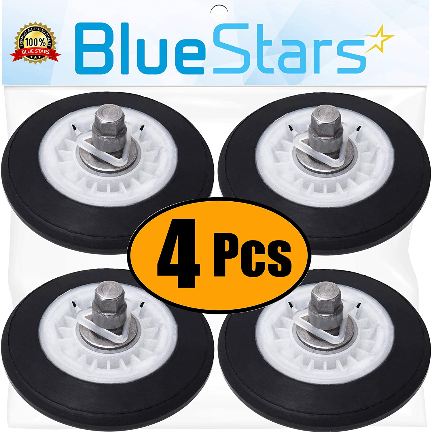 Ultra Durable 4581EL2002C Dryer Drum Roller Assembly Replacement Part by Blue Stars - Exact Fit for LG Kenmore Dryers - Replaces 4581EL2002A 4581EL2002B 4581EL2002D - PACK OF 4