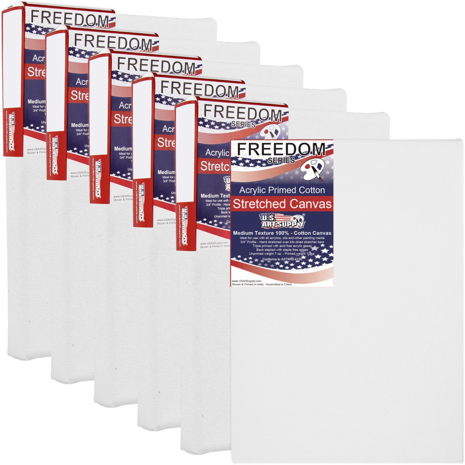 US Art Supply 5 x 7 inch Professional Quality Acid Free Stretched Canvas 6-Pack - 3/4 Profile 12 Ounce Primed Gesso - (1 Full Case of 6 Single Canvases)