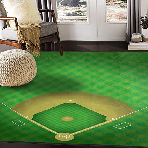 ALAZA Baseball Field Green Sport Area Rug Rugs for Living Room Bedroom 7 x 5
