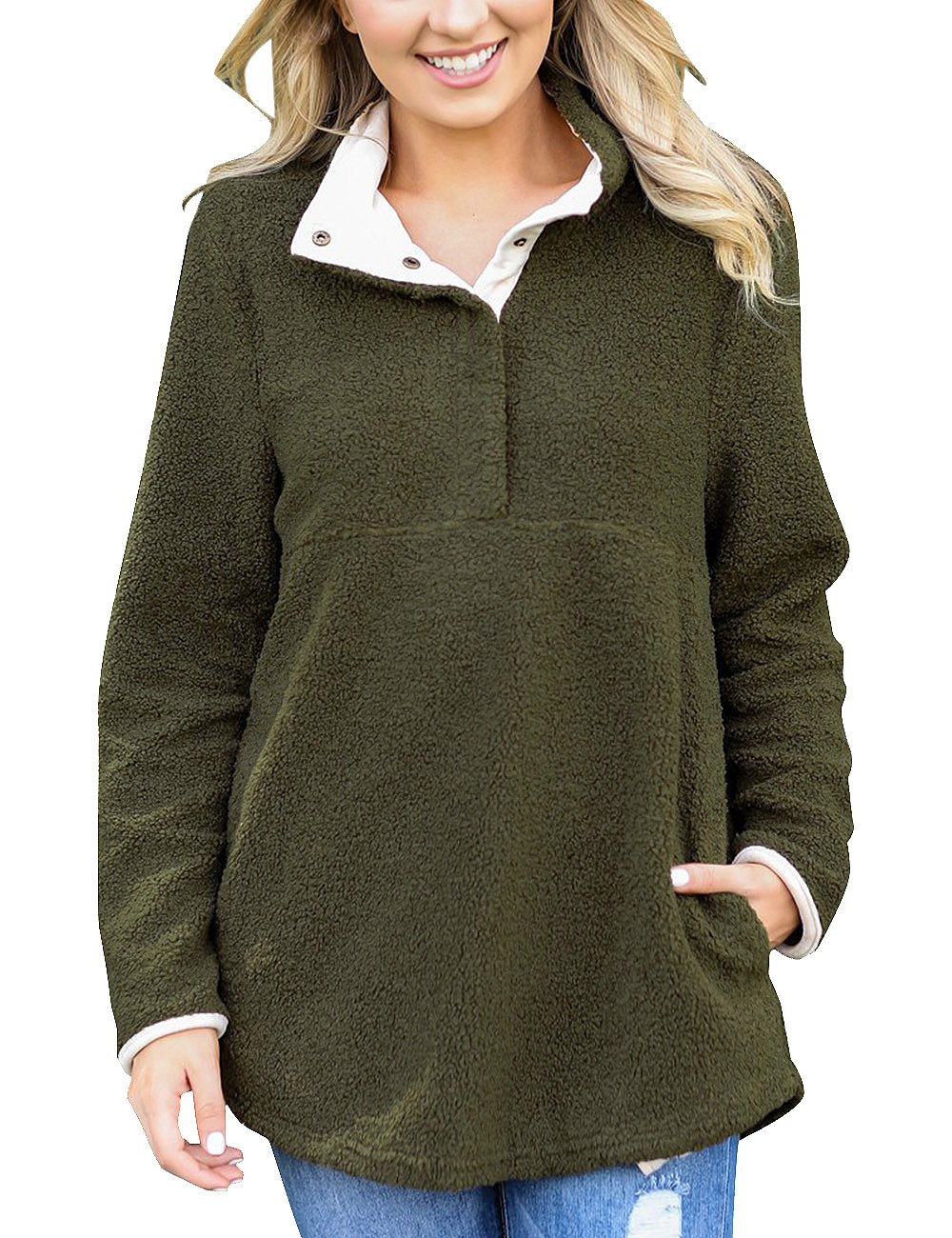 GRAPENT Women's Casual Long Sleeves Stand Collar Buttons Pockets Fleece Pullover Army Green Size L (Fit US 12 - US 14)