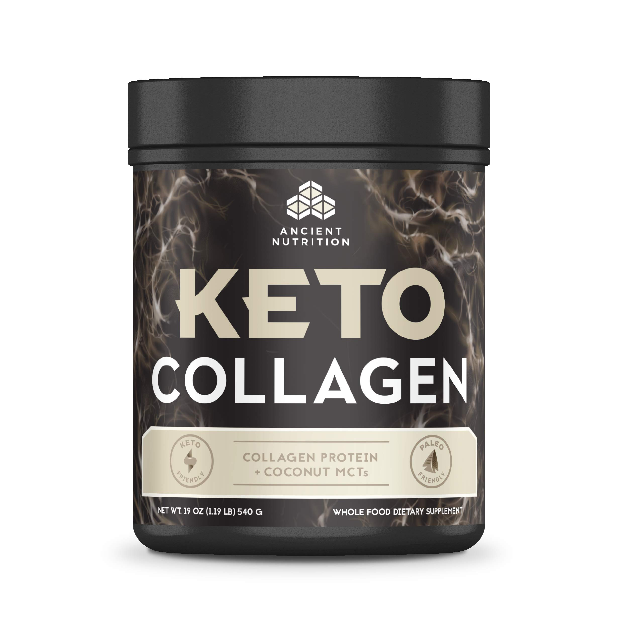 Ancient Nutrition KetoCOLLAGEN Powder, Keto Diet Supplement, Types I and III Collagen Plus Coconut MCTs, Pure Flavor, 30 Servings, 19 oz by Ancient Nutrition