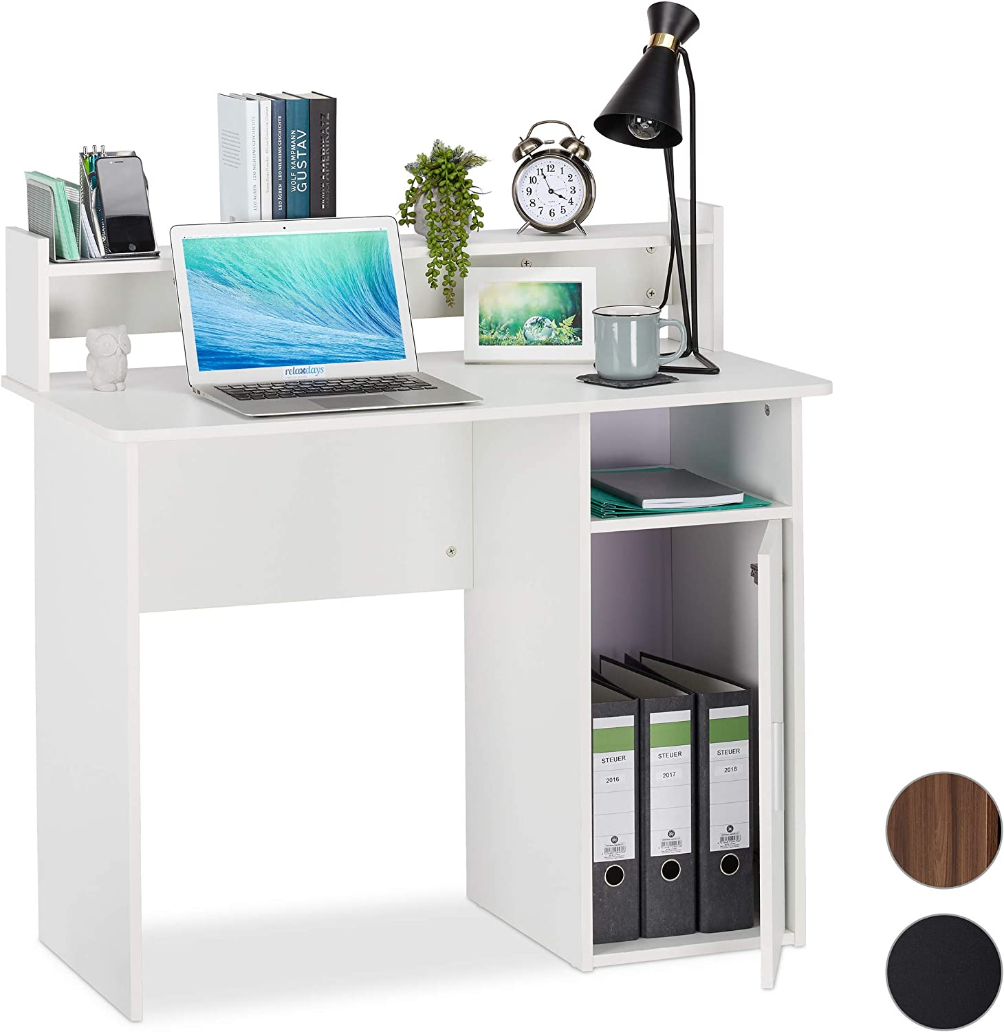 Relaxdays cajonera, Moderno, Mesa PC, Escritorio Home Office ...