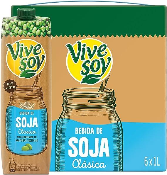 Vivesoy Bebida De Soja Sabor Natural - Pack de 6 x 1 L - Total: 6 L: Amazon.es: Alimentación y bebidas