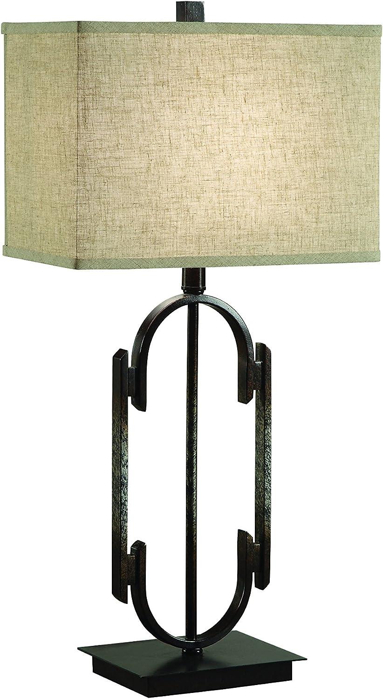 Coaster Home Furnishings Rectangular Table Lamp Bronze and Beige
