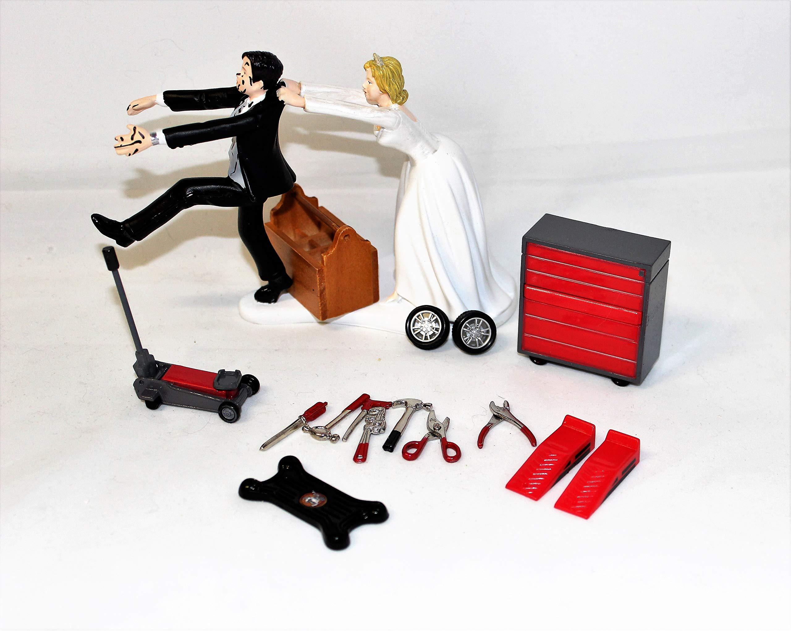 Wedding Reception Party Garage Back Yard Mechanic tool grease Cake Topper