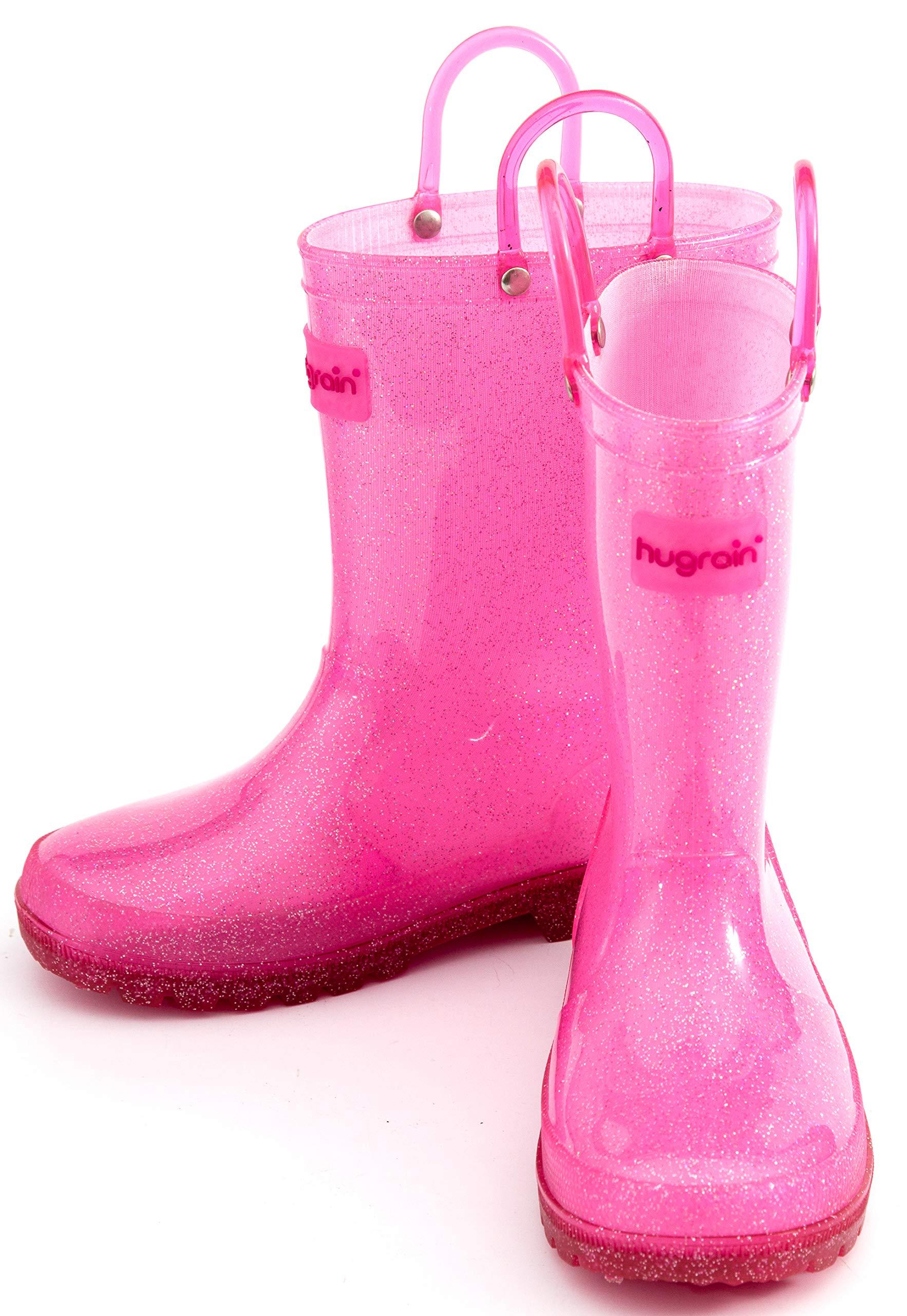 HugRain Toddler Girls Kids Rain Boots Light up Waterproof Shoes Glitter Lightweight (Size 5, Pink)