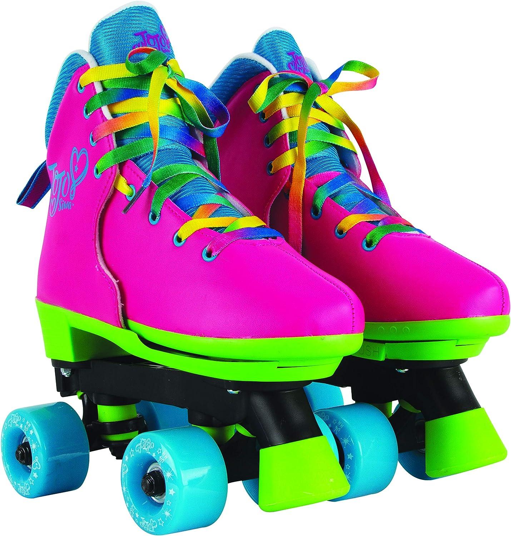 Circle Society Classic Adjustable Indoor & Outdoor Childrens Roller Skates - Jojo Siwa Rainbow - Sizes 3-7, 170035,Multi