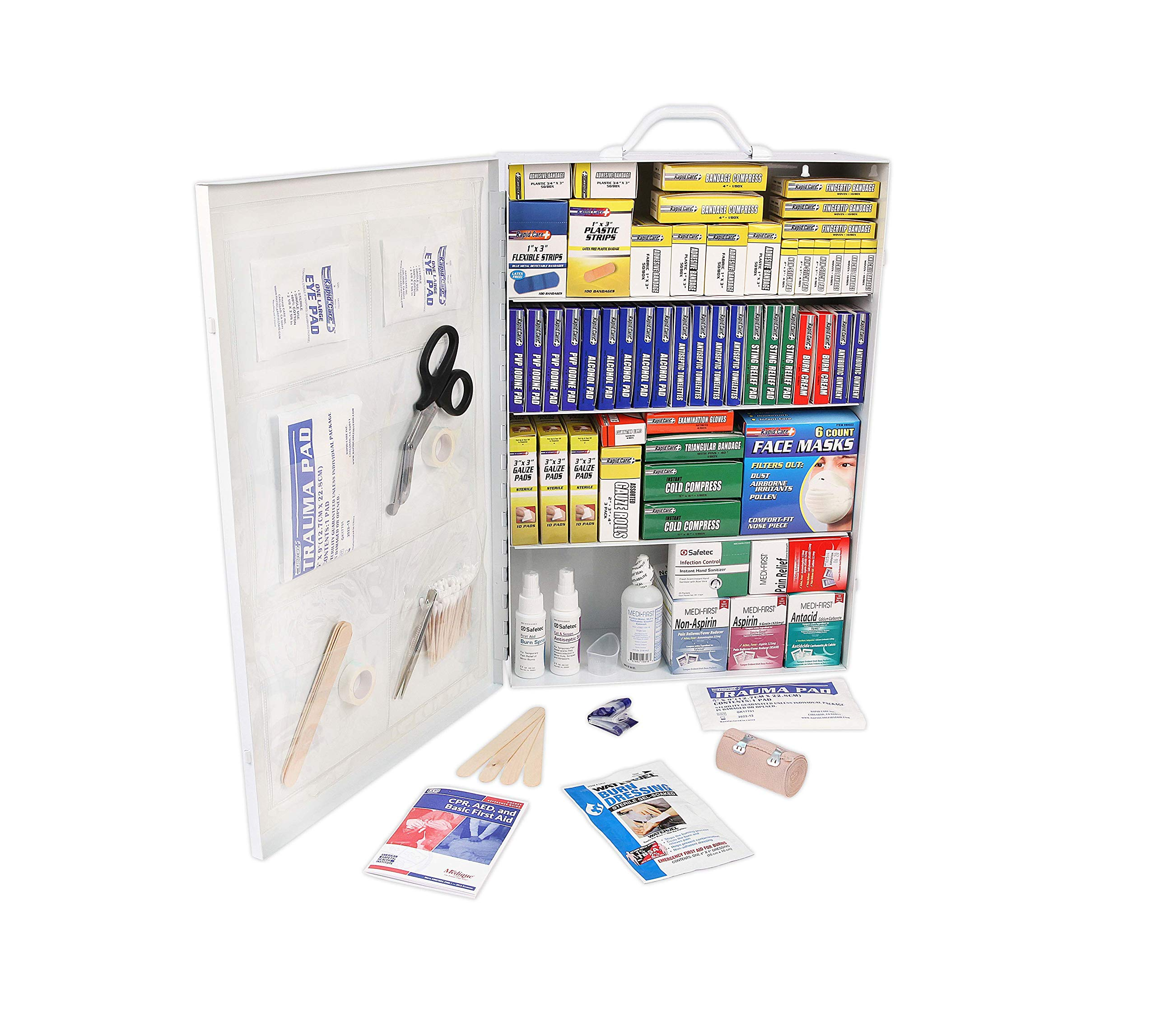 Rapid Care First Aid 80099 4 Shelf All Purpose First Aid Kit Cabinet, Class A+, Exceeds OSHA/ANSI Z308.1 2015, Wall Mountable, Over 1,500 Pieces